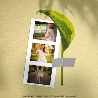 Maquette polaroid de cadre photo réaliste psd premium