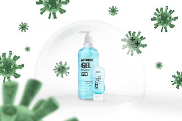 Maquette de pompe de bouteille de gel et bouclier anti-bulles