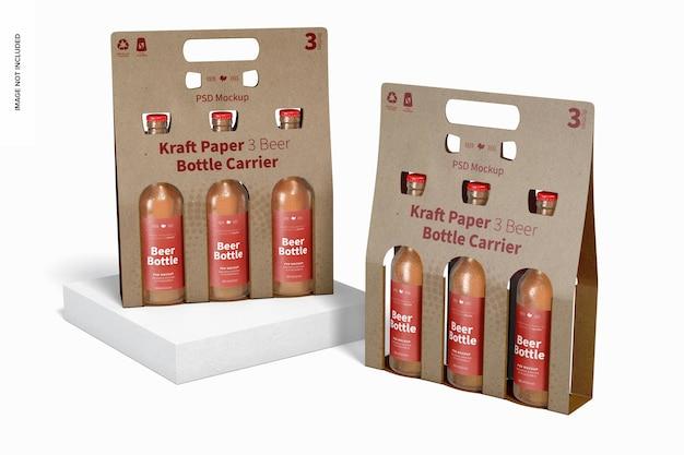 Maquette De Porte-bouteilles De Bière Kraft Paper 3, Perspective PSD Premium