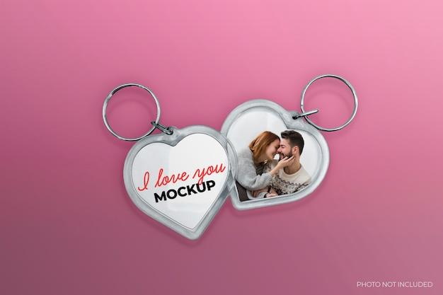 Maquette de porte-clés à deux cœurs