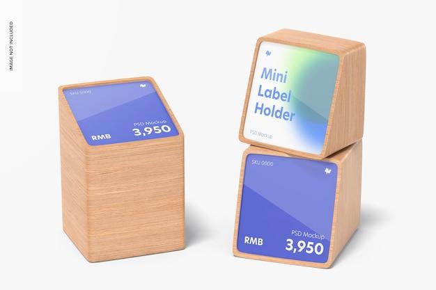 Maquette de porte-étiquettes de prix en bois, vue de droite