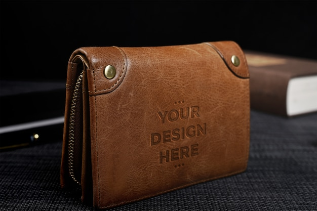 Maquette de portefeuille en cuir marron