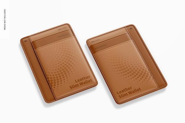Maquette de portefeuilles minces en cuir