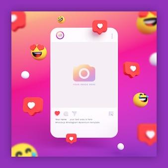 Maquette de post instagram 3d avec des emojis et des icônes de coeur