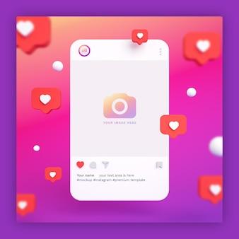 Maquette de post instagram 3d avec des icônes de coeur