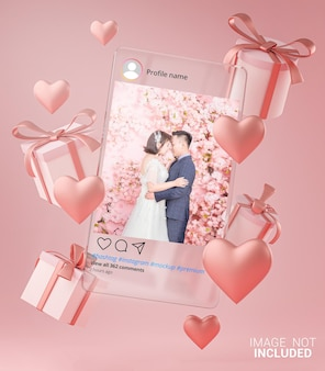 Maquette de poste instagram sur le modèle de verre valentine wedding love heart shape and gift box flying