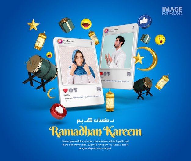 Maquette de poste de médias sociaux instagram ramadan kareem islamique