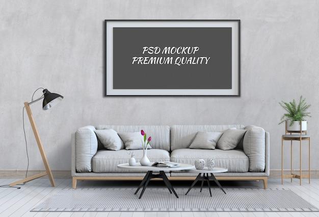 Maquette de poster dans le salon intérieur et le canapé