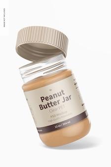 Maquette de pot de beurre d'arachide en pet transparent de 12 oz, penchée