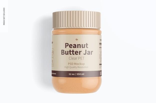 Maquette de pot de beurre d'arachide en pet transparent de 12 oz, vue de dessus