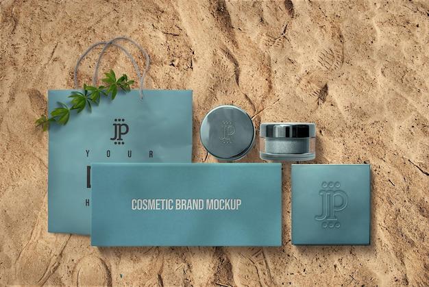 Maquette de pot et boîte cosmétique bleue