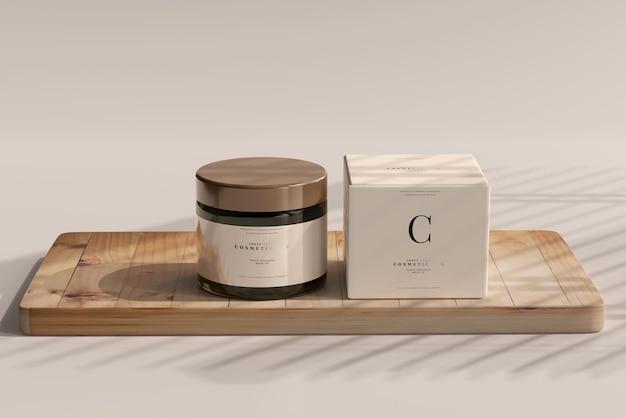Maquette de pot et boîte cosmétique en verre ambré