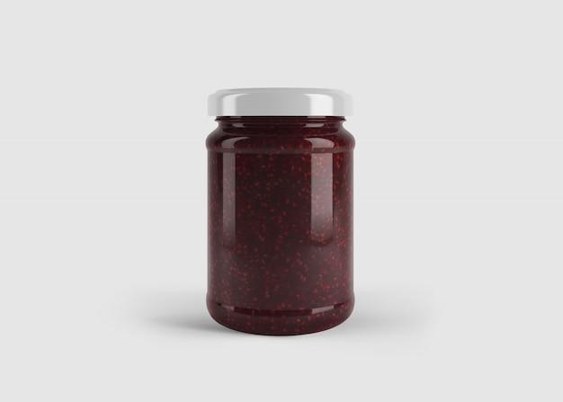 Maquette de pot de confiture ou de sauce rouge foncé avec étiquette de forme personnalisée dans une scène de studio propre