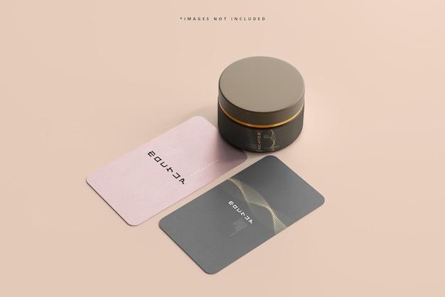 Maquette de pot cosmétique et de cartes de visite