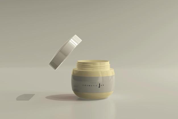 Maquette de pot cosmétique avec couvercle