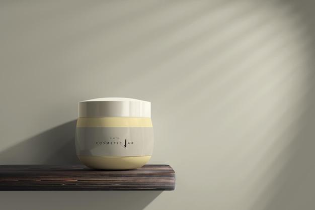 Maquette de pot cosmétique avec étagère