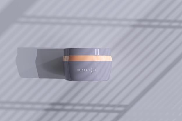 Maquette de pot cosmétique avec des ombres