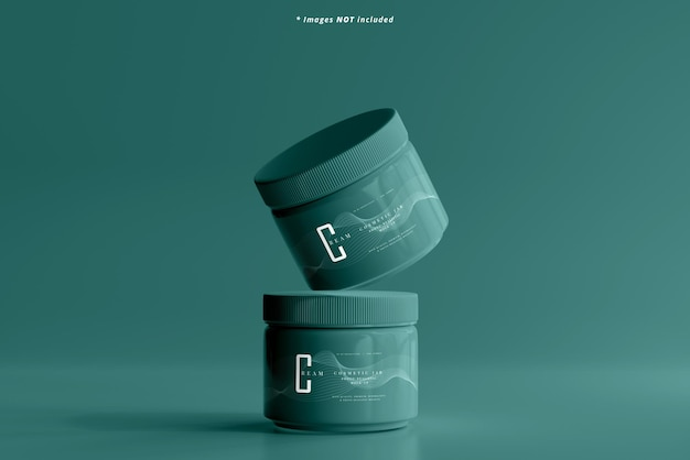 Maquette de pot cosmétique en plastique