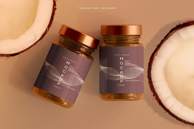 Maquette de pot cosmétique en verre ambré