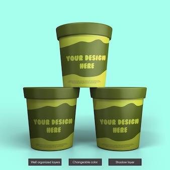 Maquette de pot de crème glacée en rendu 3d