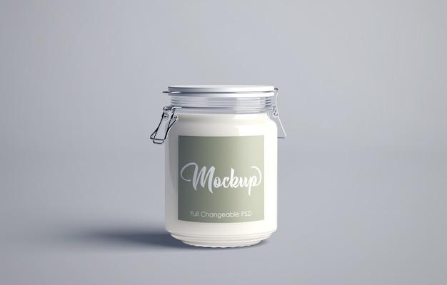 Maquette de pot de lait isolée