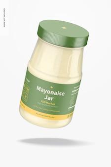 Maquette de pot de mayonnaise de 14 oz, flottant