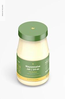 Maquette de pot de mayonnaise de 14 oz, vue isométrique
