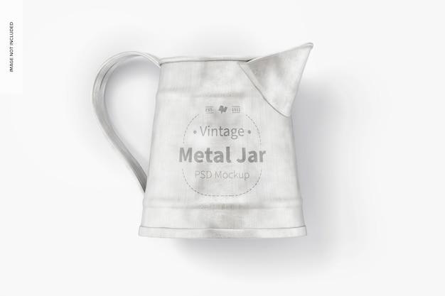 Maquette de pot en métal vintage, vue de dessus
