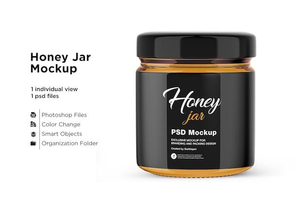 Maquette de pot de miel isolée