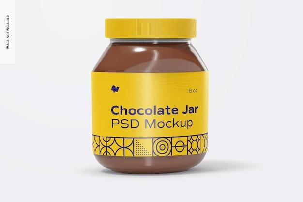 Maquette de pot de pâte à tartiner au chocolat, vue de face