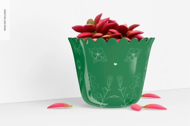 Maquette de pot de plante en verre, vue de gauche