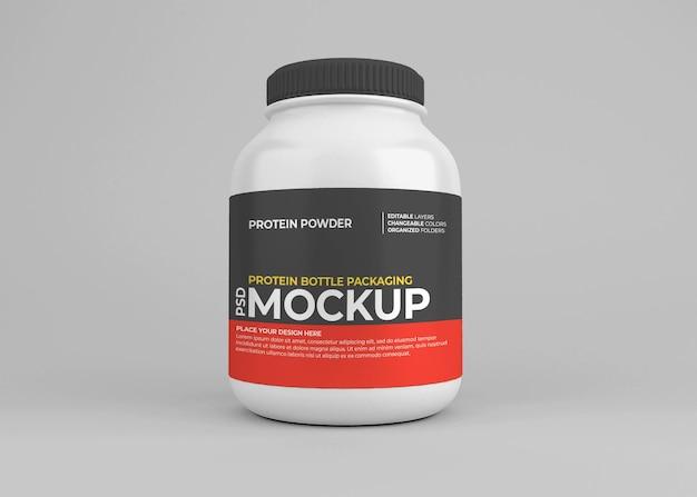 Maquette de pot de supplément nutritionnel en poudre de protéine