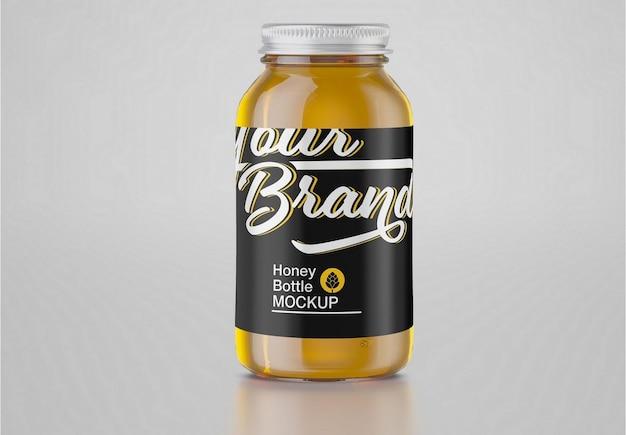 Maquette de pot en verre au miel