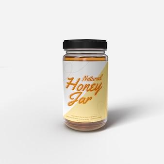 Maquette de pot en verre de miel réaliste maquette d'objet isolé avant