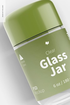 Maquette de pot en verre transparent de 180 ml, gros plan