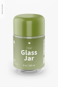 Maquette de pot en verre transparent de 180 ml, vue de face
