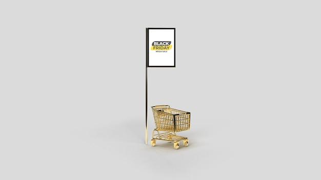 Maquette de poteau de publicité de rue à led numérique avec chariot rendu 3d