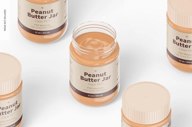 Maquette de pots de beurre d'arachide en pet transparent de 12 oz