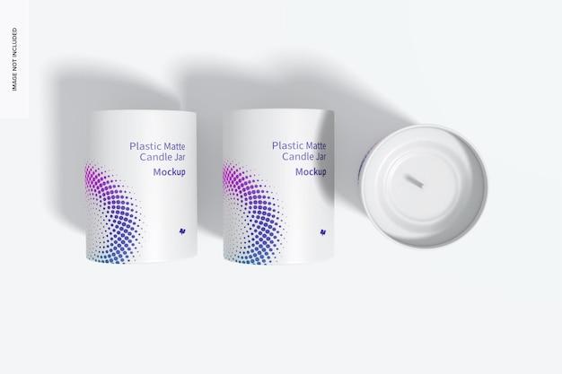 Maquette de pots de bougie en plastique mat, vue de dessus