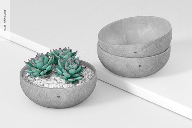 Maquette de pots de ciment ronds plats, perspective