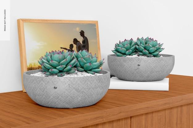Maquette de pots de ciment ronds plats, vue de gauche