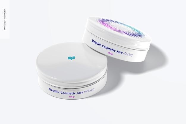 Maquette de pots cosmétiques métalliques 100g, vue de dessus