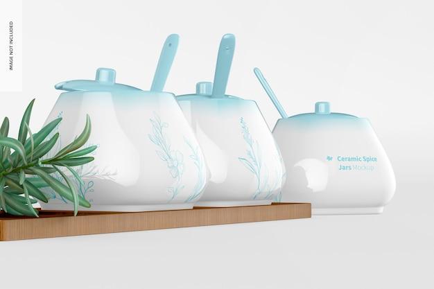 Maquette de pots à épices en céramique, low angle view