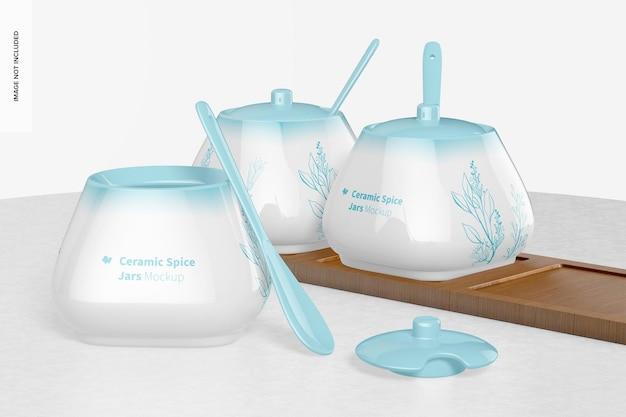 Maquette de pots à épices en céramique