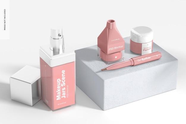 Maquette de pots de maquillage