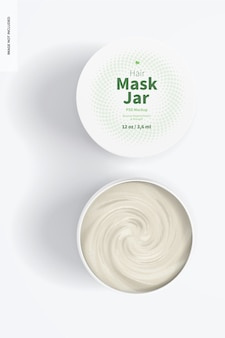 Maquette de pots de masque capillaire, vue de dessus