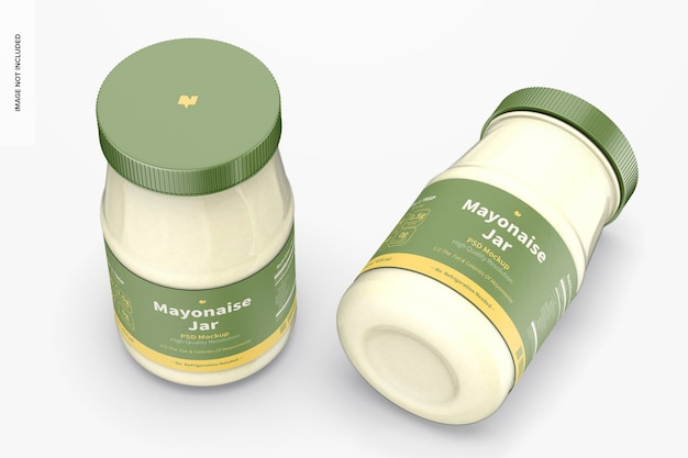 Maquette de pots de mayonnaise de 14 oz, vue de dessus