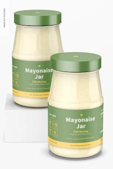 Maquette de pots de mayonnaise de 14 oz