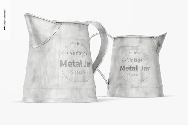 Maquette de pots en métal vintage, vue de face