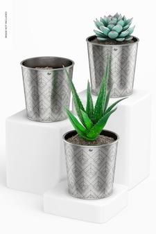 Maquette de pots de plantes métalliques